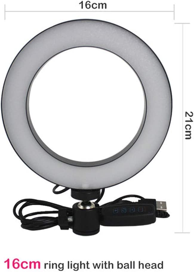 JYEMDV 16//20//26CM Only Ring Light with Ball Head USB Charging 3 Modes Fill Light Aluminum Alloy Live Light Size : A