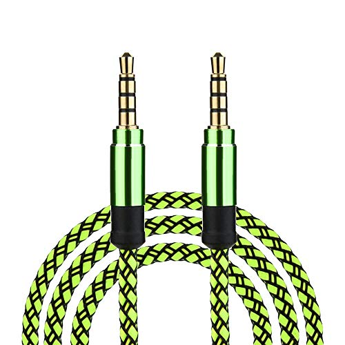 (Jonerytime Feature3M/10Ft Braided Male to Male Aux 3.5mm Jack Stereo Audio Cable for Cell Phone Tablet (Green))