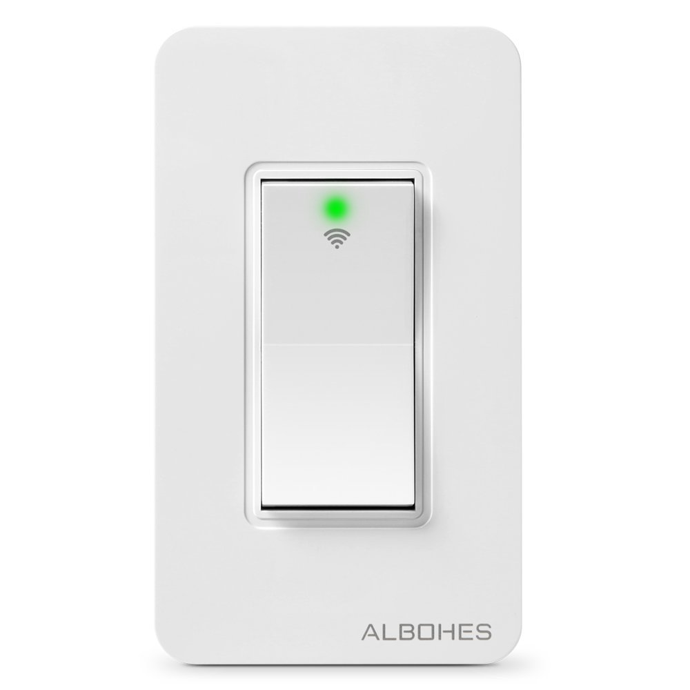 Albohes Remote Light Switch Smart Wifi Switch by Phone, Compatible with Alexa and Google Assistant Remote Control switch for Appliance Wall Switch No Hub Required
