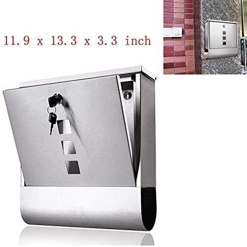 - Wall Mounted Security Mailbox Letterbox, Stainless Steel Newspaper Holder Lockable Mail Post Box with Keys [US STOCK]