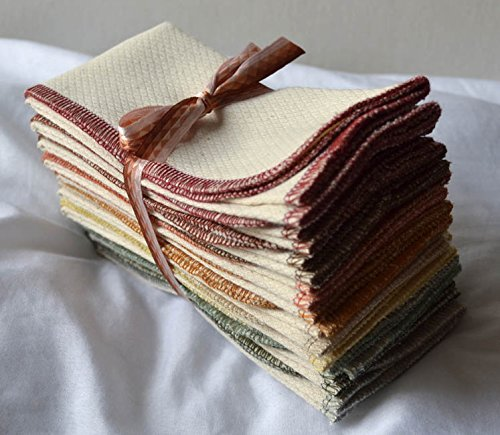 2 Ply 11x12 Inches Natural Unbleached Birdseye Paperless Towel Set of 10 Assorted Earthtone Colors