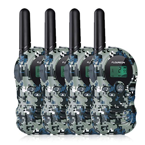 floureon Kids walkie Talkie Camouflage Long Range walky Talky for Children Camping Hiking(4pack Camouflage Blue)