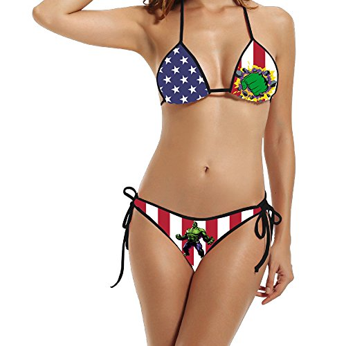 K-Fly2 Women's Sexy Hulk Customized Bikini Set Swimwear Black