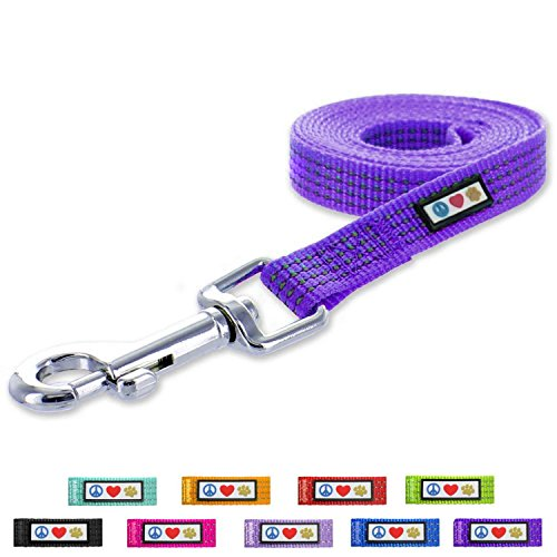 Pawtitas Pet / Puppy 6 - feet Reflective Dog Leash Extra Small / Small 5/8 inch Purple Matching Collar and Harness sold separately.