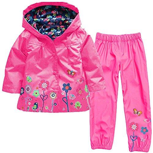 (Wennikids Baby Girl Kid Waterproof Floral Hooded Coat Jacket Outwear Raincoat Hoodies Clothing Set XX-Large Hot Pink)