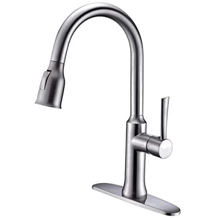 Kitchen Faucet With Pull Out Sprayer In Stainless Steel Crea Pot