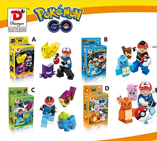 4 pcs Pokemon GO Pikachu minifigure Building block toy Fit for Lego without box