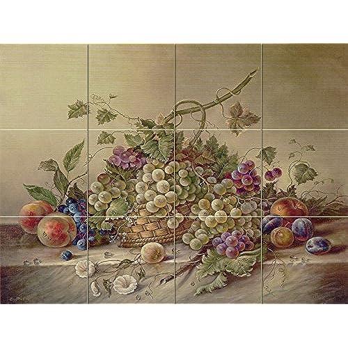 kitchen tiles with fruit design. Ceramic Tile Mural  Fruit Bouquet II by Corrado Pila Kitchen backsplash Bathroom shower 4x3 6 Tiles Amazon com