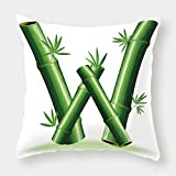 iPrint Polyester Throw Pillow Cushion Cover,Letter W,Bamboo Branches Forming Letter W Zen Spa Themed Alphabet Typeset Green Leaves,Green White,Decorative Square Accent Pillow Case