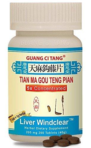 Tian Ma Gou Teng Pian (Wan) (Liver Windclear) 200 mg 200 Tablets by Guang Ci Tang