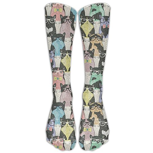 Glasses Kitten Nerd Comfy Long Socks Women & Men Warmer High Socks For Sports Gym Running Hiking Travel Home - Uk Nerd Glasses