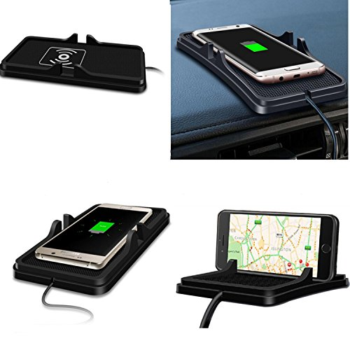 (YICHUMY Qi Wreless Charger Car Phone Holder Dashboard Phone Cradle Pad Holder Car Anti Slip Mat Wireless Charger For iPhone X iPhone 8 iPhone 8 plus,Samsung Galaxy S9 Note 8 S8 (Black))