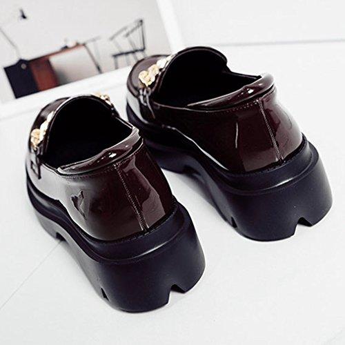 Mocassini Classici Da Donna Giy Mocassini Slip-on Dress Penny Mocassini Oxford Metallic Chain Shoes Marrone Scuro