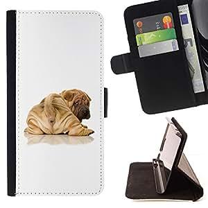 Momo Phone Case / Flip Funda de Cuero Case Cover - Cachorro de Shar Pei Cola Marrón Arrugas; - HTC Desire 626