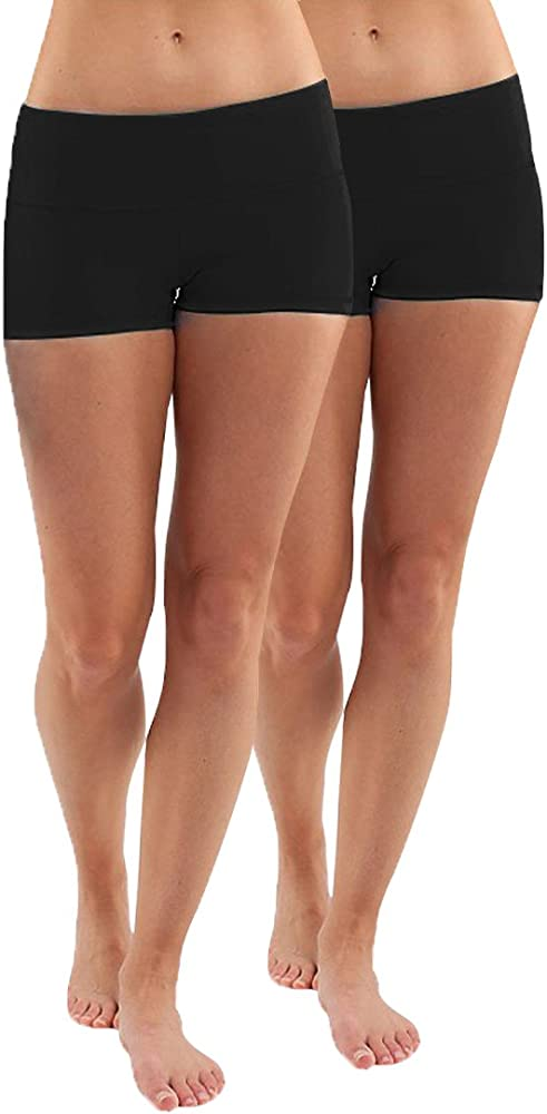 Womens Yoga Shorts Cotton Shorts Pants Pack of 2