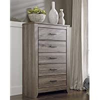 Zerlien Casual Wood Warm Gray Color Five Drawer Chest