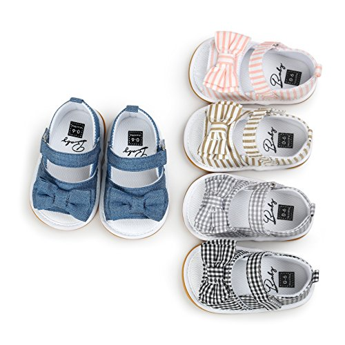Image of Sabe Summer Infant Baby Girls Sandals Striped Bowknot Soft Rubber Sole First Walker Shoes