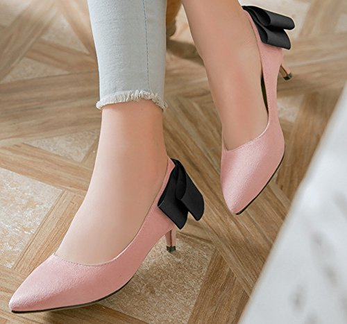 Femme Kitten Avec Mignon Escarpins Pointue Rose Chaussure Heel Nœud Easemax Swfd11