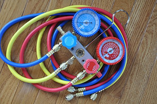 R22 R134a R404a R12 Manifold Gauge Set+5ft Hoses+Car AC Quick Snap-on Couplers Adapters Can Tap Charging Diagnosis Recovery HVAC Home Office AC Car AC by VIOT (Image #1)'