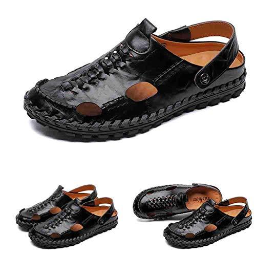 Del Estate Baotou Continuo Per Casuale 38 Sandali Pelle Black Piede Chiuso All'aperto Uomini Pantofola Ciclo Dito Escursionismo Comfort qpfE8