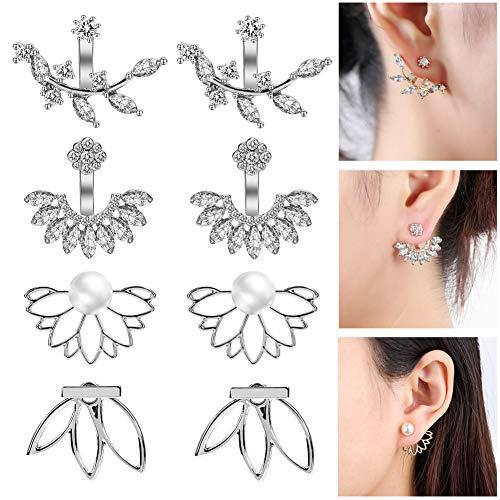 (JieyueJewelry 4 Pairs Lotus Flower Earrings Stud Jacket Earrings Simple Chic Earrings Back Cuffs Stud Earring sets for Women Girls)