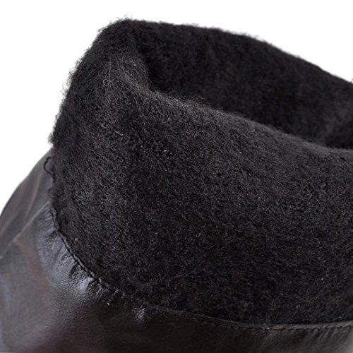 Aiyoumei Plataforma De Tacón De Aguja Para Mujer Roud Toe Botas Sobre La Rodilla De Invierno De Color Negro