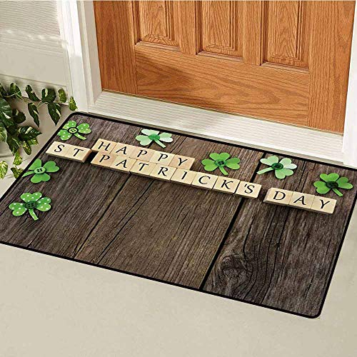 (GUUVOR St. Patricks Day Welcome Door mat Greetings with Wooden Blocks and Paper Shamrocks on Rustic Planks Image Door mat is odorless and Durable W29.5 x L39.4 Inch Umber Beige)