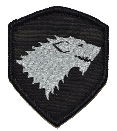 GoT Stark Wolf Emblem 2x3.5 Shield Morale Patch with Hook Fastener - Multiple Colors (Multicam BLACK)
