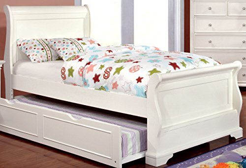 (Furniture of America Maggie Transitional Youth Sleigh Bed, White, Full)
