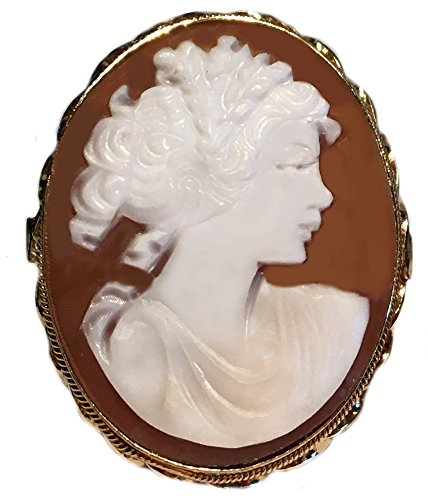 - Cameo Ring Master Carved, Sardonyx Shell Sterling Silver 18k Gold Overlay Size 8 Italian