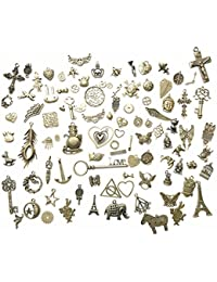 100 Gram DIY Assorted Antique Steampunk Bronze Metal Keys Wings Gear Cog Wheel, Chains,Charms Jewelry Making Accessory...