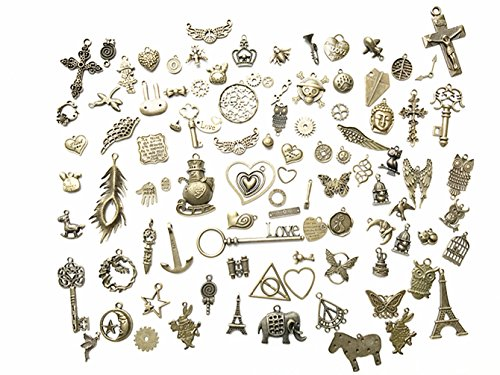 - 100 Gram DIY Assorted Antique Steampunk Bronze Metal Keys Wings Gear Cog Wheel, Chains,Charms DIY Kits