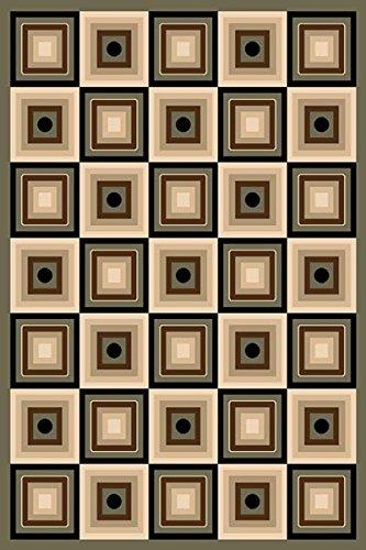 Charcoal 2X4 Carved Squares Modern Geometric Mat Rug