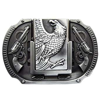 Hebilla con mechero, águila, revolver, cinturón hebilla