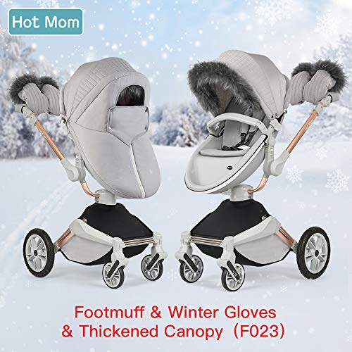 Hot Mom 360 Rotation Stroller Winter outkit with Footmuff Winter Gloves Thickened Canopy for Pushchair F023