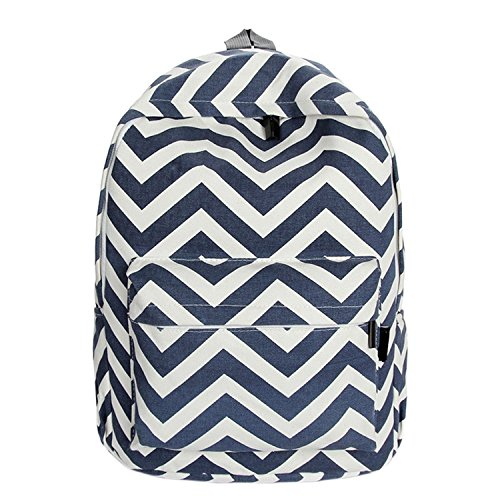 Blue Schoolbag Canvas Malloom® Schoolbag Double Malloom® Backpack Shoulder Sweet Stripe ExzqZ