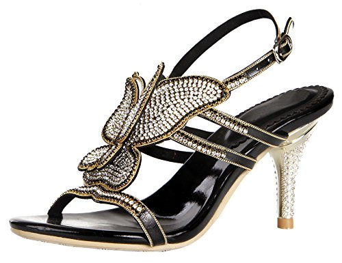 Women Crystal Bling Party Pump Butterfly Honeystore shoes Mid Sandals Pattern Wedding Black Heel Strapy ZFxHwAqa