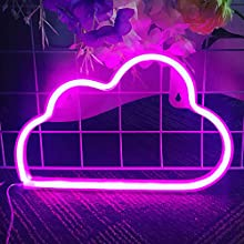 Protecu Cloud Light Neon Signs for Bedroom, USB/Battery Operated Night Light Neon Signs for Wall Decor, Decorative LED Neon Lights, Cute Neon Light Sign for Birthday, Wedding Party, Christmas, New Year Room Decor(Pink)