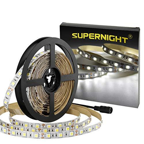 SUPERNIGHT LED Light Strip White, 6000K Daylight White Lights 16.4 Ft 300leds -