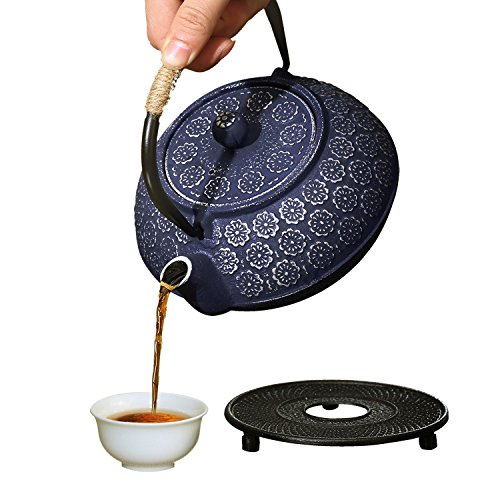 Purple Floral Design Japanese Cast Iron Teapot With Thickened Glass Enamel And Stainless Steel Infuser, With Trivet And Wood Lid Holder By ISINO