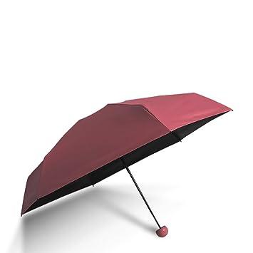 Sabarry Mujer Sol UV Funda Paraguas automático bastón Pantalla Grande niños Rojo Wine Red Color Talla