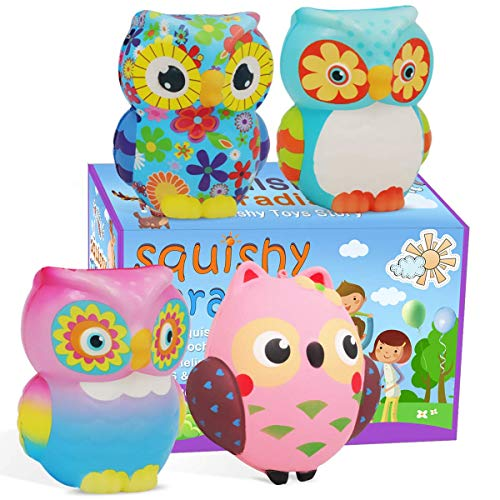 POKONBOY Squishy Jumbo Squishies Pack - 4 Pack Cute Owl Cream Scented Animal Squishies Slow Rising for Boys Girls Kids Adults Party Favors Toys Easter Decorations Easter Egg Fillers