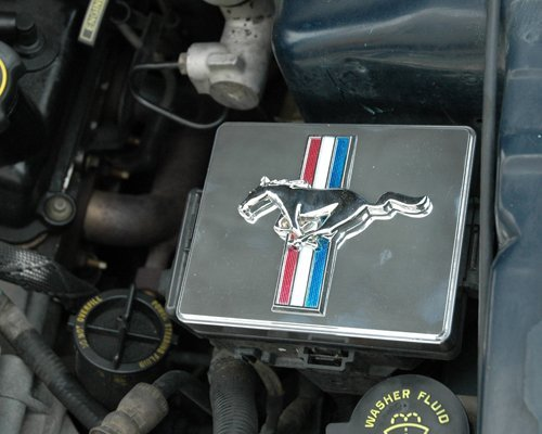 Mustang Polished Stainless Fuse Box Cover Running Horse Tri Bar - Emblems Mustang V6