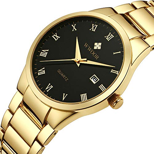 Watch Gold Transparent (WWOOR Store Men's Watch Analog Quartz Waterproof Watch with Date Fashion Business Stainless Steel Casual Gift Wrist Watches (Gold Black))