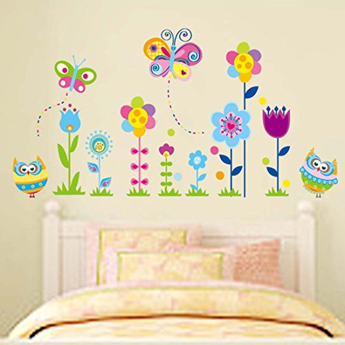Wall Decal Beautiful Flowers Lovely Owls Butterflies Home Sticker House Decoration Wall Paper Removable Living Dinning Room Bedroom Art Picture Murals DIY Girls Boys kids Nursery Baby