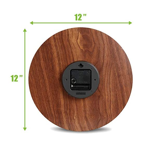 Plumeet Luminous Wall Clocks - 12'' Non-Ticking Silent Wooden Clock with Night Light - Large Decorative Wall Clock for Kitchen Office Bedroom (Wood) - GLOWING CLOCK ADVANTAGE -- Night lights function & long light up time, super quiet & non-ticking, big numbers perfect for the elderly or the visually restricted people. INCREDIBLE LUMINOUS TIME -- Light up more than 3 hours if clock receives enough sunlight at day, Four extra large numbers makes it easier to read at night. ANALOG SILENT CLOCK -- Precise quartz movements to guarantee accurate time, sweeping movement ensure a good sleeping and work environment. Made of wood, rich in rustic features. - wall-clocks, living-room-decor, living-room - 51aVgk9%2BYIL. SS570  -