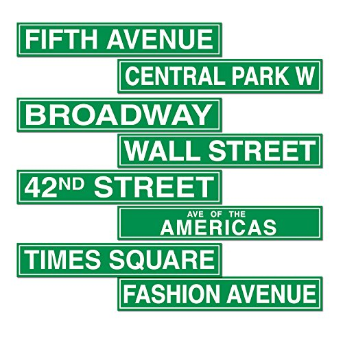 Signs Of The City (Beistle S50094AZ3 New York City Street Sign Cutouts, Green/White)