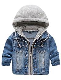 Meowstyle D-Sun Kid Baby Boys Hooded Lapel Zipper Pocket Denim Jackets Coats Outwears