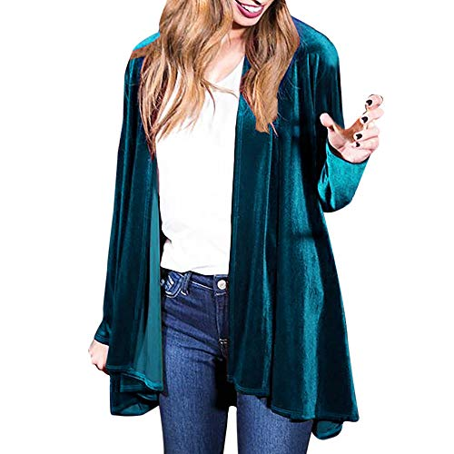 - JOFOW Womens Long Velvet Suit Jackets Plus Size Coats Solid Waterfall Swing Collar Vintage Casual Loose Straight Cardigans (2XL =US:12-16,Green)