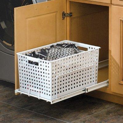 Rev-A-Shelf HURV-1512 S White Polymer Pullout Hamper/ Utility basket